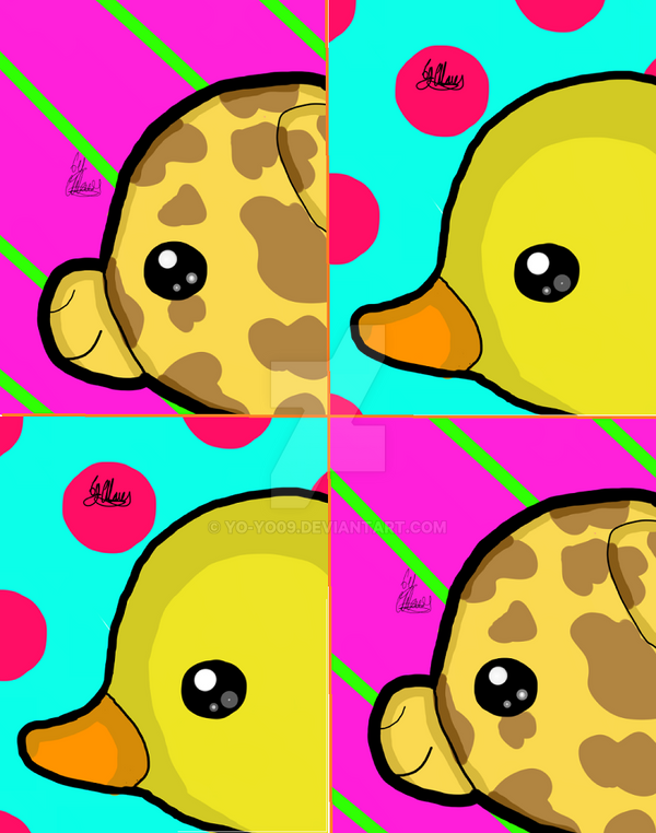 kawaii Duck and Giraffe by yo-yo09