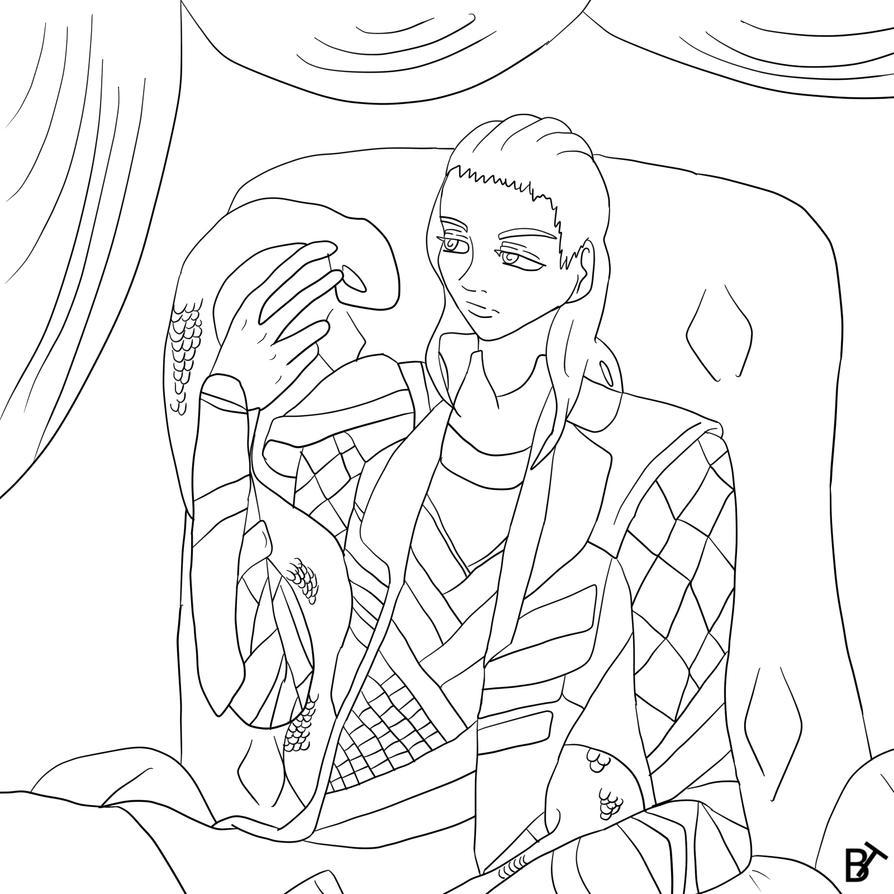 Loki The Snake Lineart by Brain-Twinge