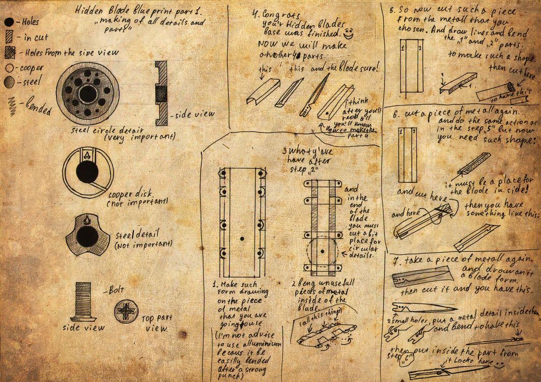 Hidden blade blueprint by kudrik on deviantart hidden blade blueprint by kudrik malvernweather Image collections