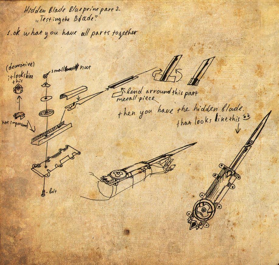 Hidden blade blueprint part 2 by kudrik on deviantart for How to make a blueprint
