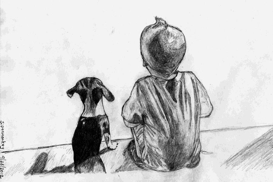 'Boy with best friend.' by mysticmadman