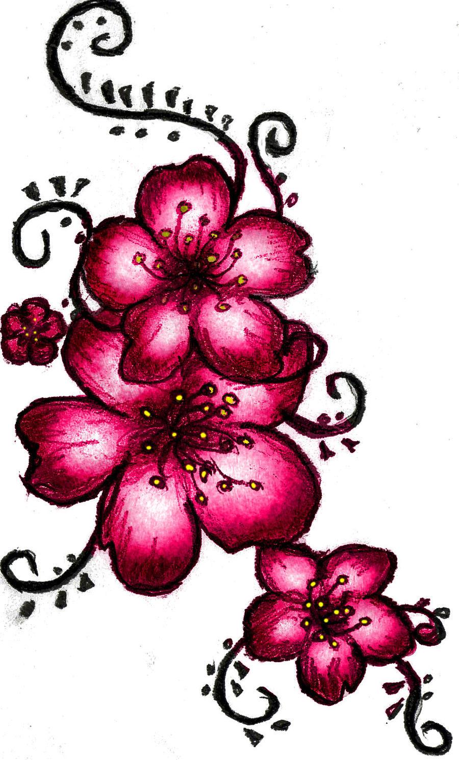 Cherry Blossom Henna Tattoo by ~LSD-ForTheMasses on deviantART