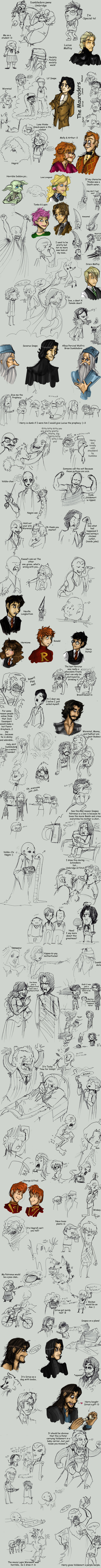 Harry Potter Mondo Sketch Dump by OhSadface