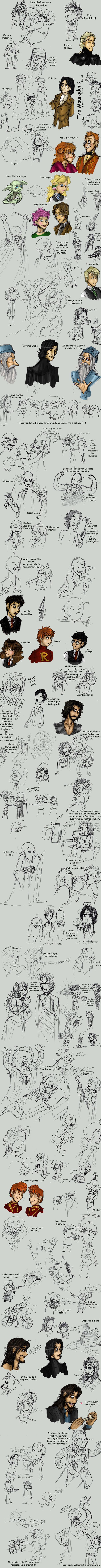 Harry Potter Mondo Sketch Dump by OhSadface