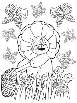 Chasing Butterflies coloring page