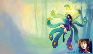 Peacock Ahri - LoL fanskin by Sitaart