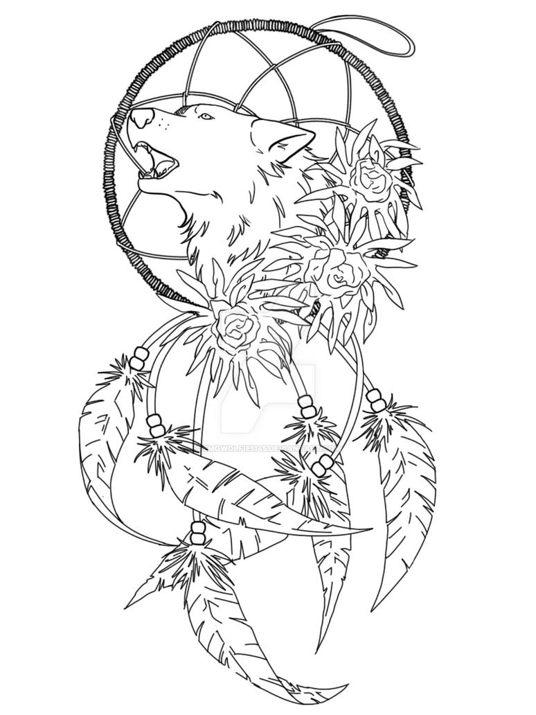black and white dream catchers coloring pages | Wolves Dream Catcher Coloring Pages Sketch Coloring Page