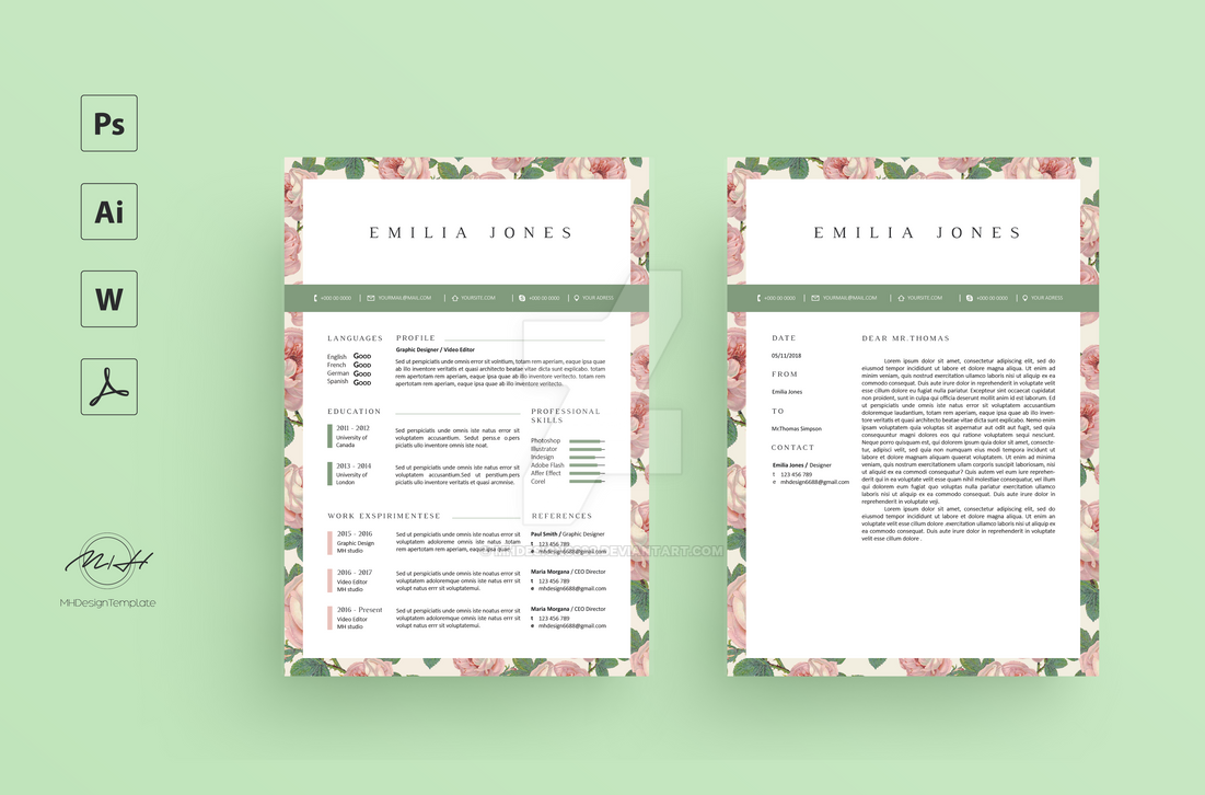 Floral Resume CV Template Free Cover Letter By Mhdesign6688