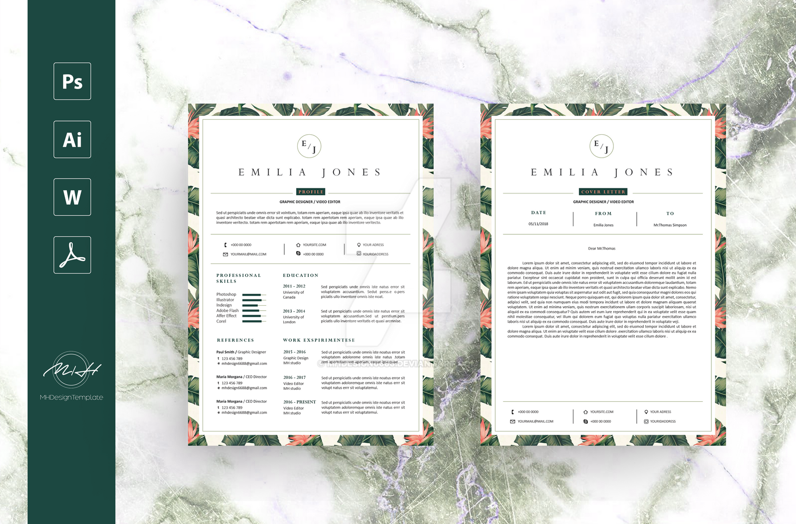 leaf floral resume cv template free cover letter by mhdesign6688
