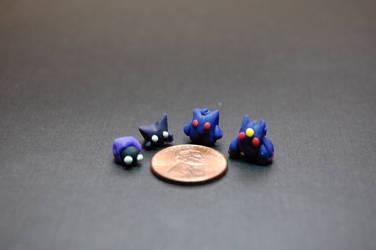 Mini Pokemon #92,93,94,and Mega Gengar by Snowifer