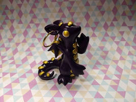 Purple and Gold Earring Dragon by Snowifer