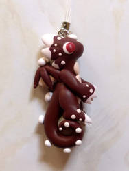 Maroon White Spotted Dragon Charm by Snowifer