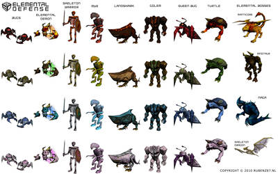 Elemental Defense Creatures by rubenz87