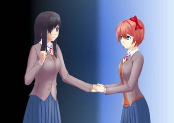 Sayori invites Hanako by kuroiZ64