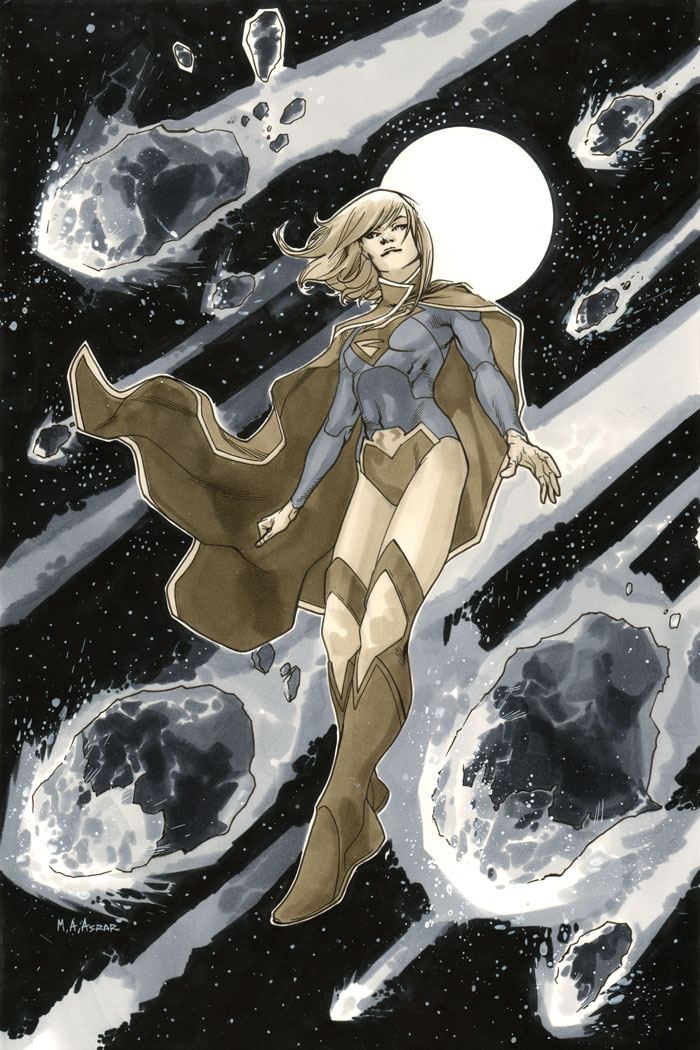 Supergirl 1 Cover BW by MahmudAsrar