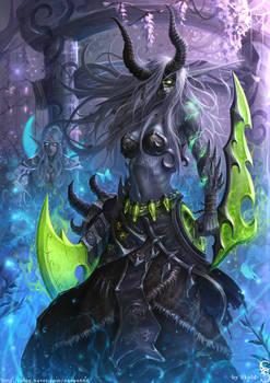 Night Elf Demon Hunter in the Darnassus by GothmarySkold