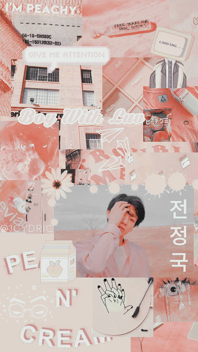 wallpaper  bts jungkook peach aesthetic wallpape by jcydric dditbbq