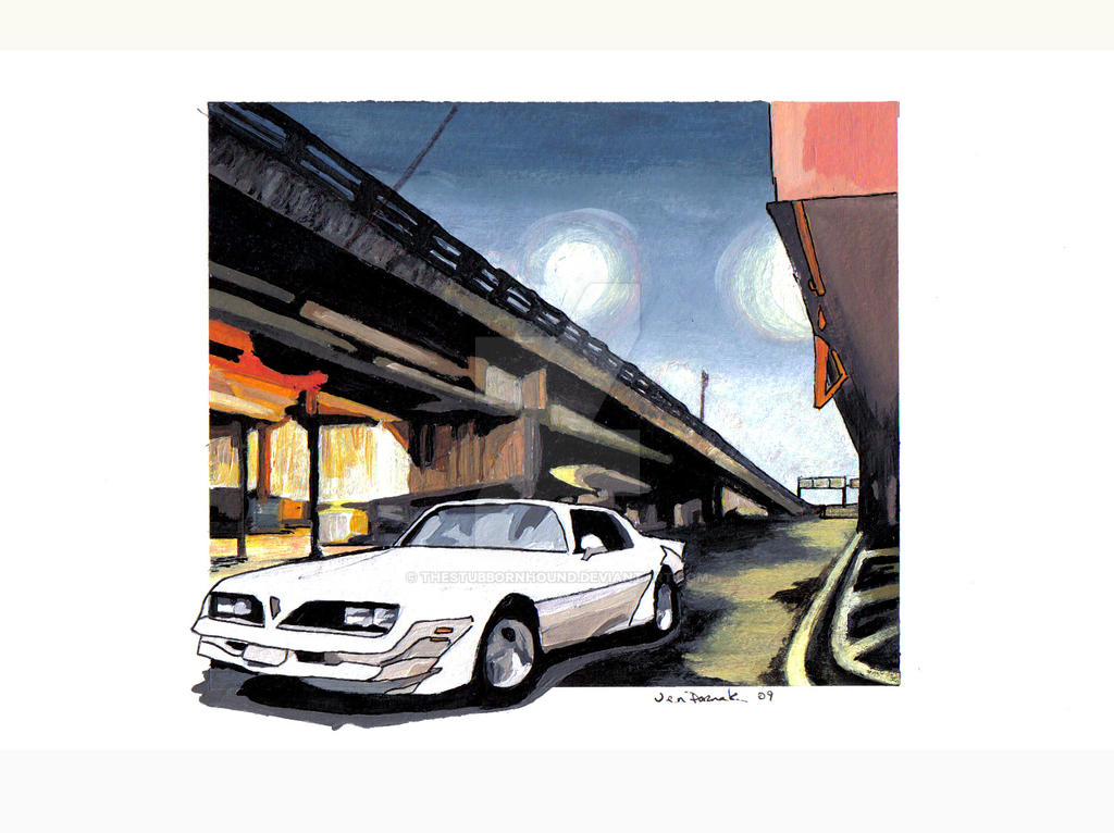 Trans Am in City Painting
