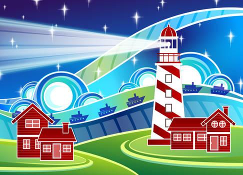 Stylised Lighthouse Scenery