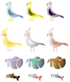 Simple Birds And Fishes
