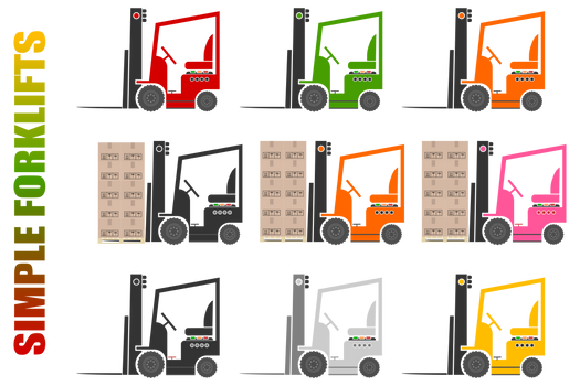 Simple Forklifts Clipart