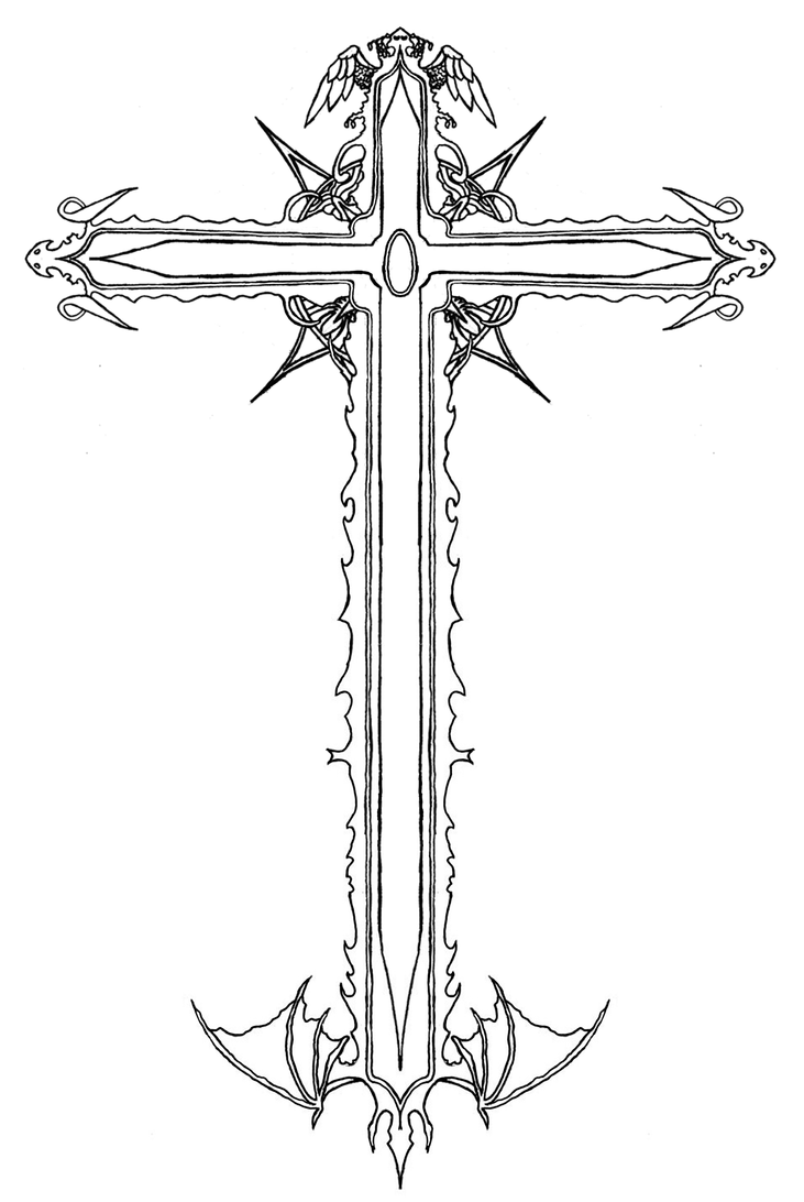 Line Art Cross : Victorian alignment cross line by yavaho on deviantart