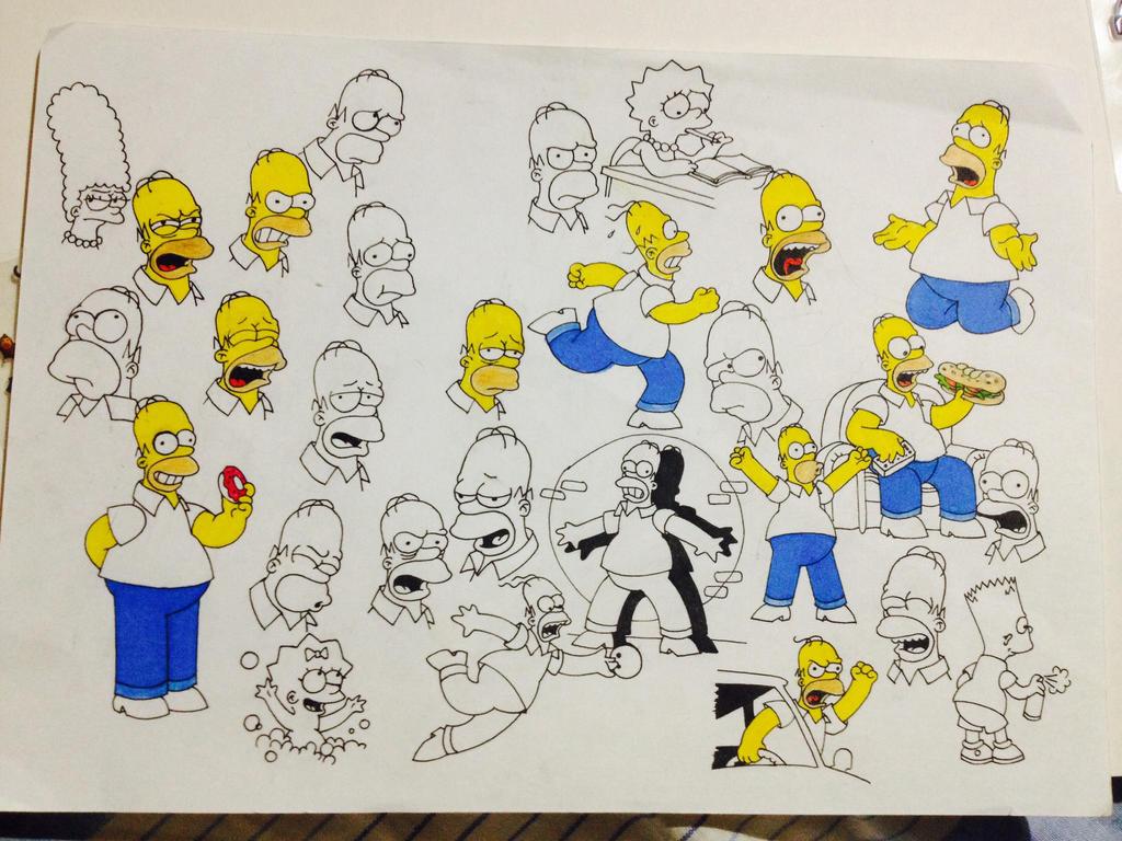 Simpsons sketches by BlackCoffeeManiac