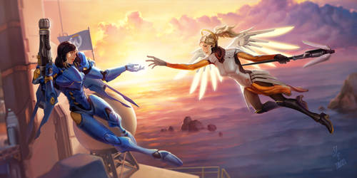 Genesis - Pharah x Mercy by Starrrrrrry