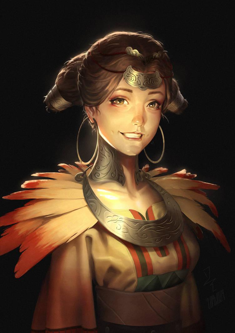 Golden Phoenix -The Scroll Of Taiwu Fan Art by Starrrrrrry