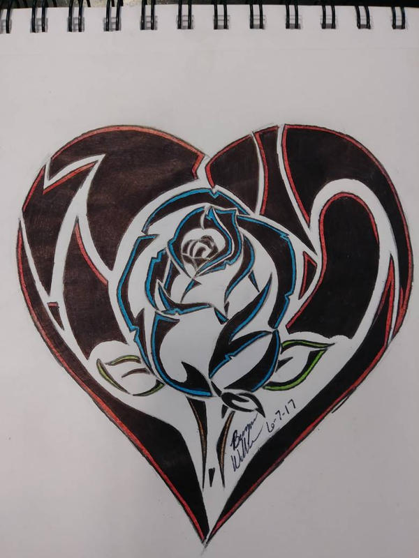 Tribal Rose Within Heart by Omegahelldroid on DeviantArt