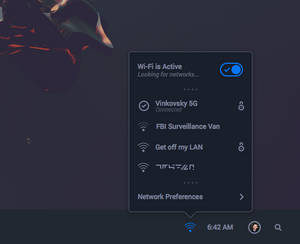 Solus OS Wi-Fi Panel Mockup