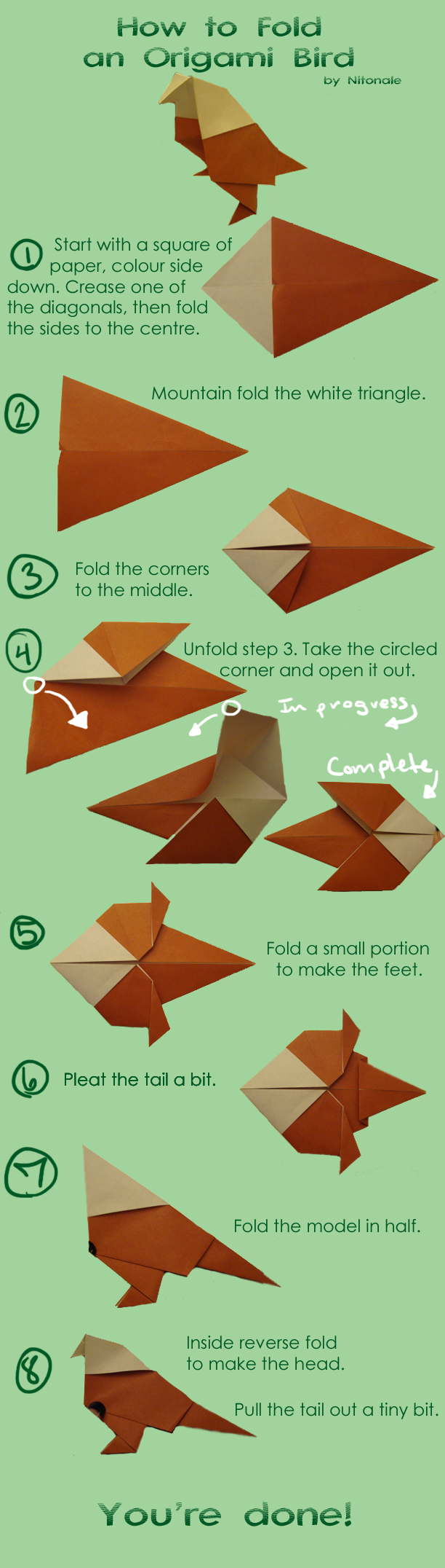 How to make a bird image for How to make origami goose