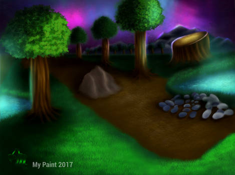 Landscape Forest Night - Done In My Paint 100%