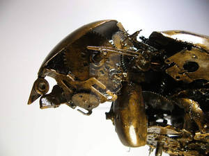 Scrap metal kestrel sculpture (detail)
