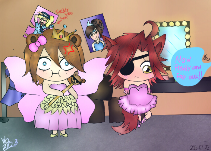 Fashion show with freddy and foxy [COLLAB] by wolfdrawing2