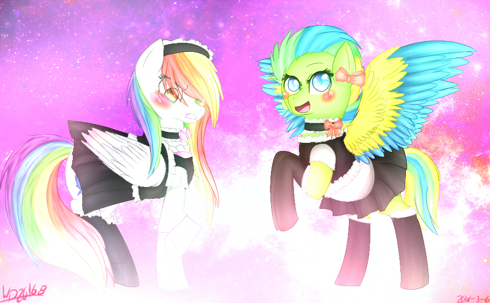 Maid Rainbow Flare And Tornado by wolfdrawing2