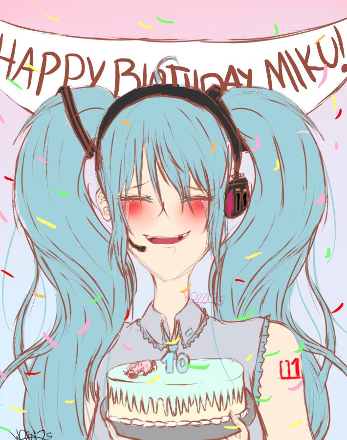 Happy birthday Miku! by wolfdrawing2