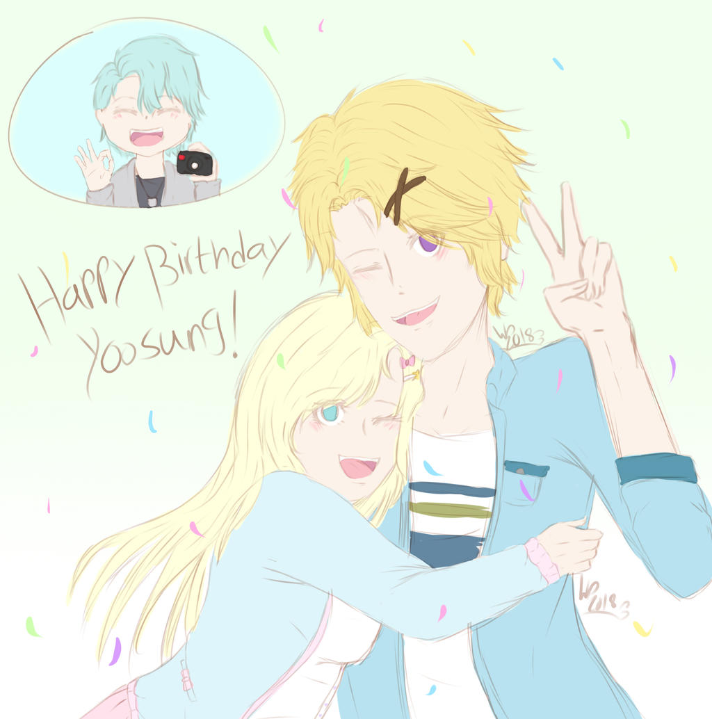 Happy Bday Yoosung! by wolfdrawing2