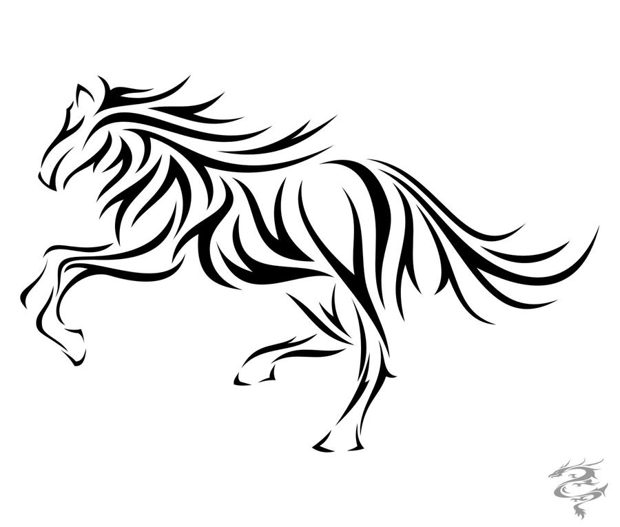 Tribal mustang tattoo