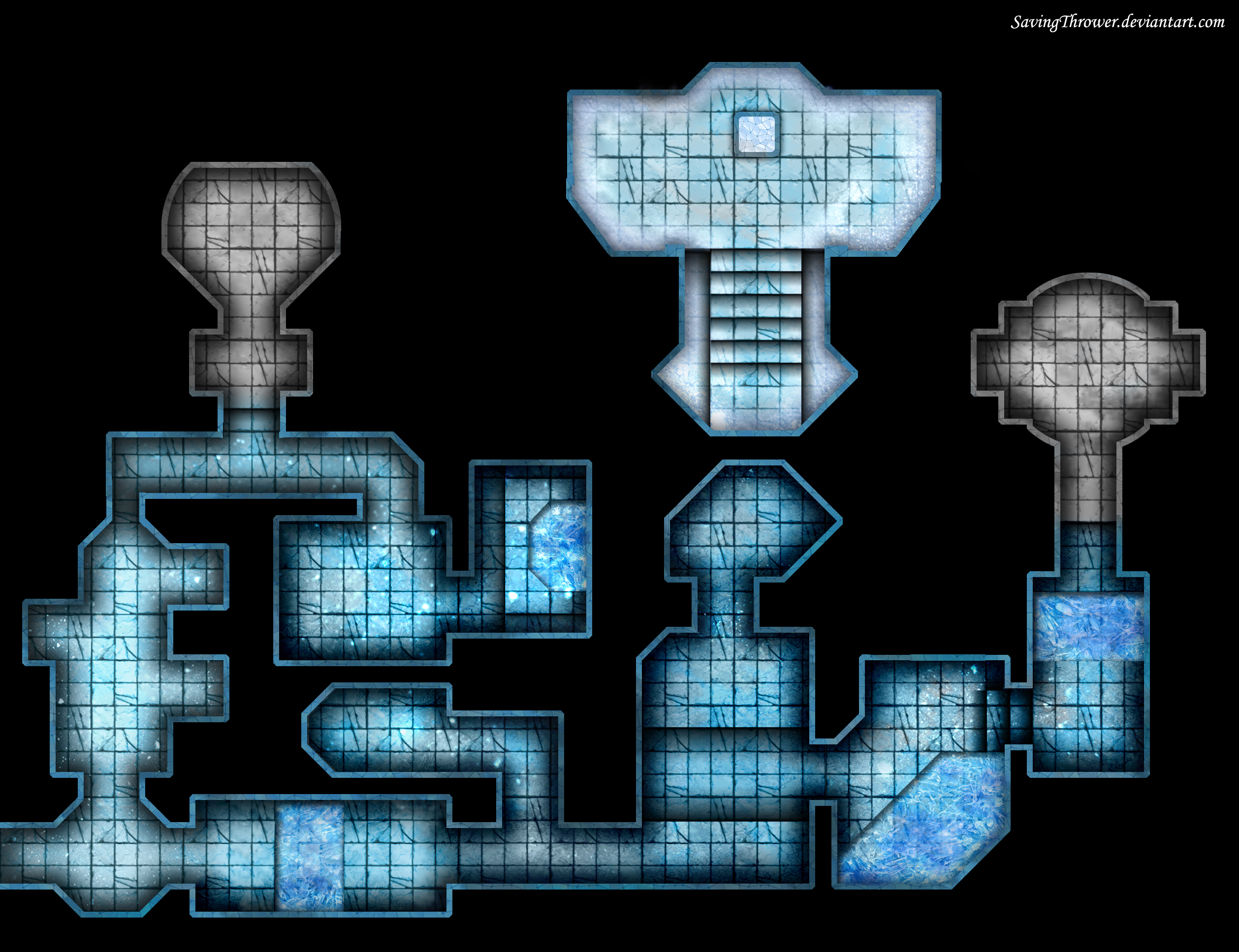 Clean Ice Dungeon Map For Online Dnd Roll20 By
