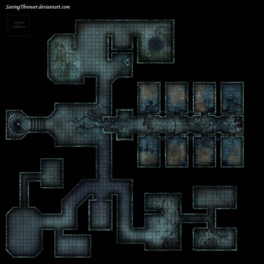 Clean abandoned prison dungeon battlemap roll20 by SavingThrower on