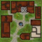 Clean mansion yard battlemap for DnD / roll20