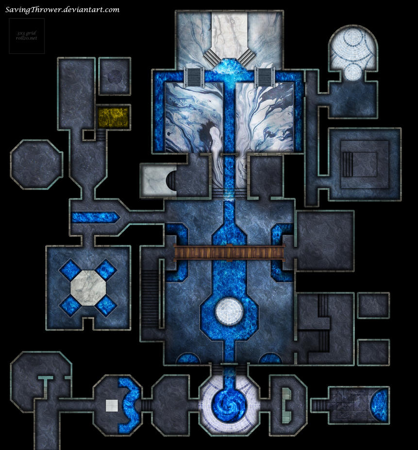 Clean water temple battlemap for DnD / roll20 by SavingThrower