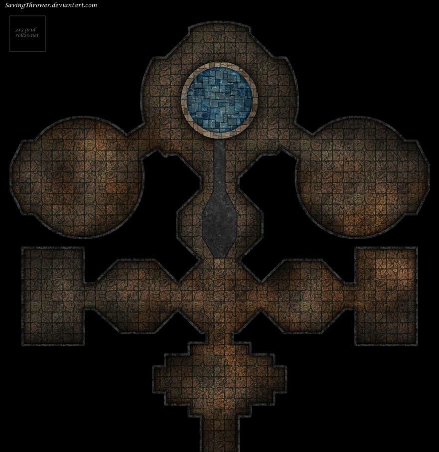 Clean fountain dungeon battlemap by SavingThrower