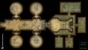 Gridless sandy tomb battlemap (35x20 tiles)