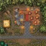 Tavern in the woods battlemap (40x40)