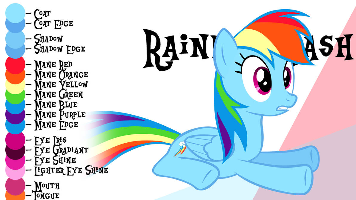 Colour Guide - Rainbow Dash by Liggliluff