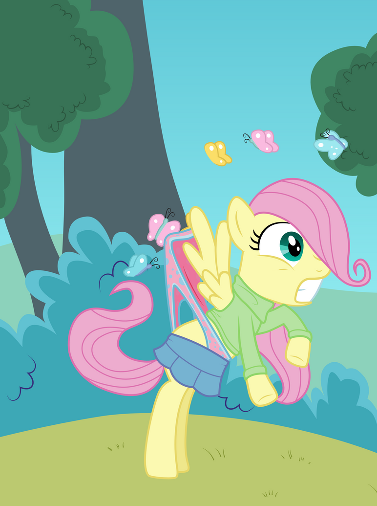 filly fluttershy wedgied by butterflies by liggliluff on