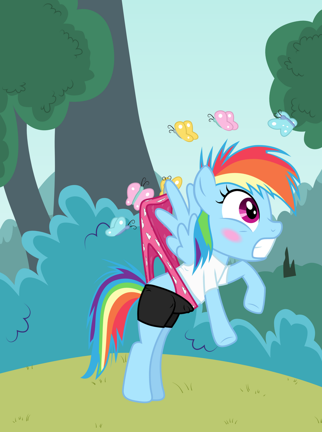 Filly Rainbow Dash wedgied by butterflies by Liggliluff on ... Rainbow Dash Wedgie