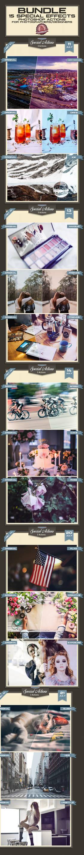 15 Special Photoshop Actions Bundle - Premium!